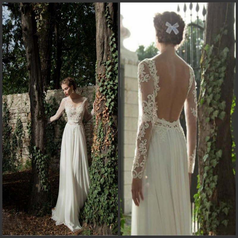 Buy 2016 backless sheer applique long sleeves a line for Where to buy berta wedding dresses