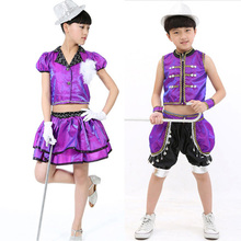 High Quality Sequins Jazz Dance Suits Costume Children Stage Performance Clothing Sets Boys Girls Children's Set Dancewear