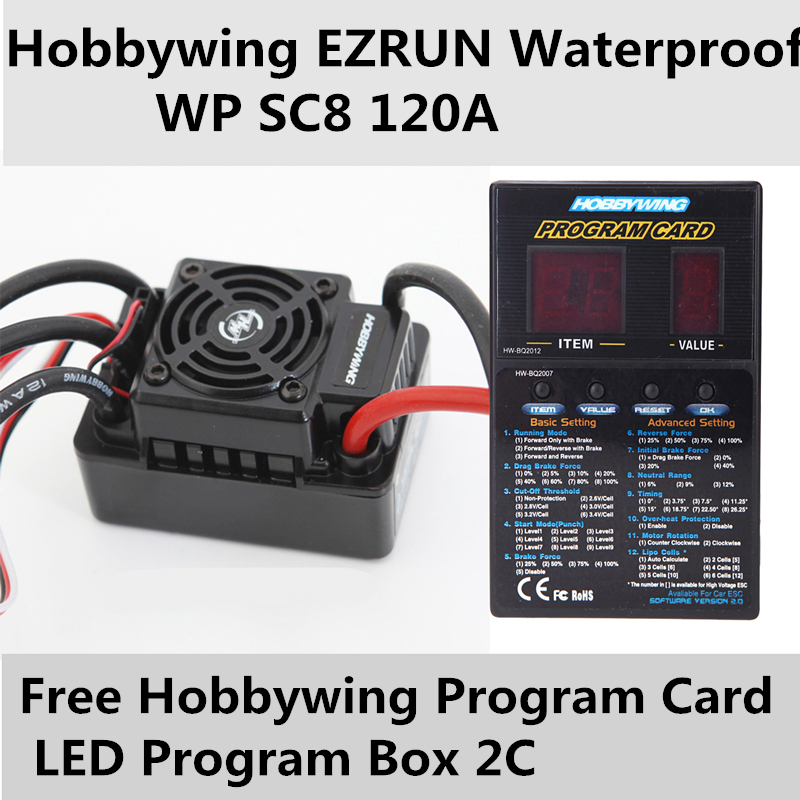 Speed Controller Hobbywing EZRUN Waterproof WP SC8 120A Brushless ESC+free Program Card LED Program Box(China (Mainland))
