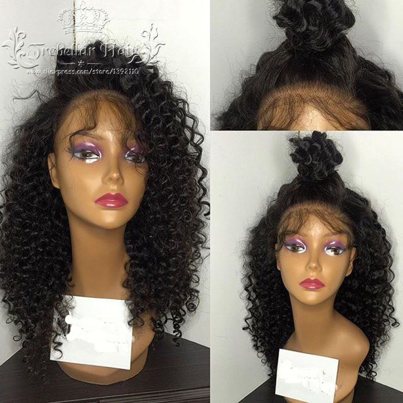 7A Glueless Curly Lace Front Wigs Brazilian Short Curly Full Lace Afro Wigs For Black Women Kinky Curly Lace Front Wig(China (Mainland))