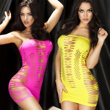 Women Sexy Lingerie Hot Fishnet Hollow Out Baby Doll See-through Mini Chemise Dress Bodysuit Erotic Lingerie Rose Red / Yellow(China (Mainland))