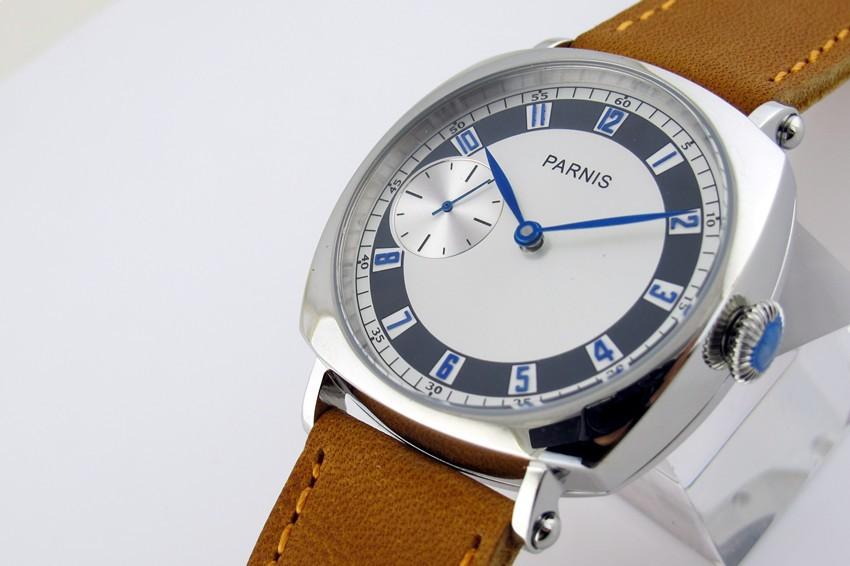 44 мм Парнис 3600 Рука Обмотки Белый Циферблат часы Коричневый Ремешок Повседневная Наручные Часы