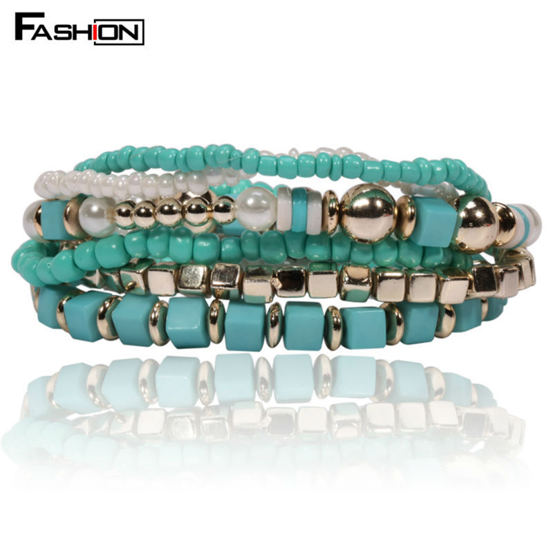 Designer Bohemian Candy Color Beads Bracelet Bangles Jewelry For Women Spring 2015 gift pulseras mujer wrist band(China (Mainland))