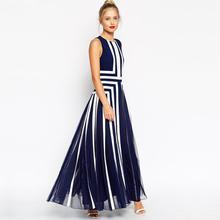 New Plus Size 4xl Dresses 2016 Fashion Women Striped Summer Dress Sexy Sleeveless Mesh Patchwork Chiffon Long Maxi Dress(China (Mainland))