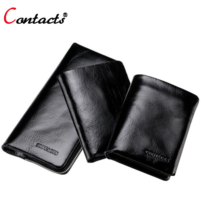 CONTACT'S Genuine Leather Men Wallets Purse Card Holder Famous Band Phone Clutch Bag Long Money Bag Walet Dollar Price Black(China (Mainland))