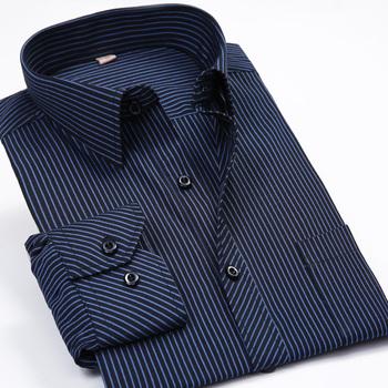 Fashion New 2016 Men Shirts Male Striped Formal Dress Shirt Long Sleeve Mens Brand Casual Shirts Plus Big Size US Size 5XL 6XL