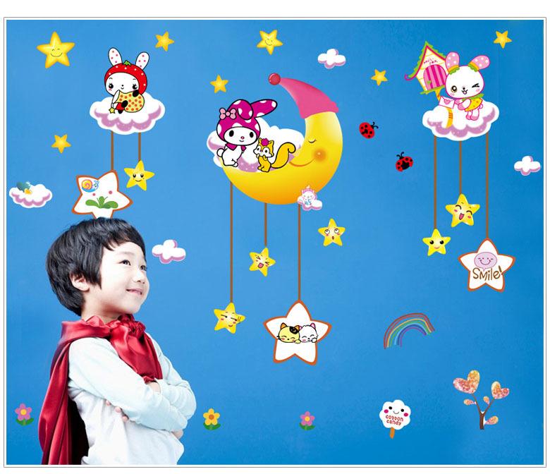 3D DIY Cartoon Animal Star Moon Tree Vinyl Big Wall Sticker For Kids Room Living Room Flowers Home Decor Decal Adesivo Wallpaper(China (Mainland))