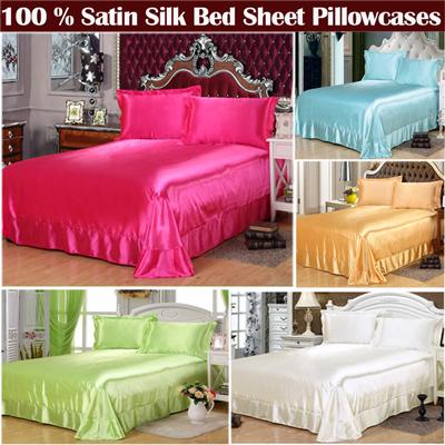 100% Satin Silk bedding sets,summer style bed sheet set,Sabanas bed linen White Satin bedspread pillowcases,juegos ropa de cama(China (Mainland))