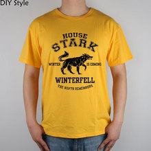 Buy Jy House Stark Game Thrones T-shirt Top Lycra Cotton Diy Hiking T-shirts Brand Men Yellow Color T Shirt High for $14.85 in AliExpress store