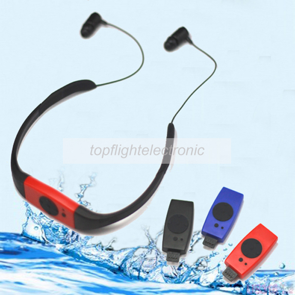 New 4GB Headset FM Radio Earphone Waterproof IPX8 Diving Swimming MP3 Player(China (Mainland))