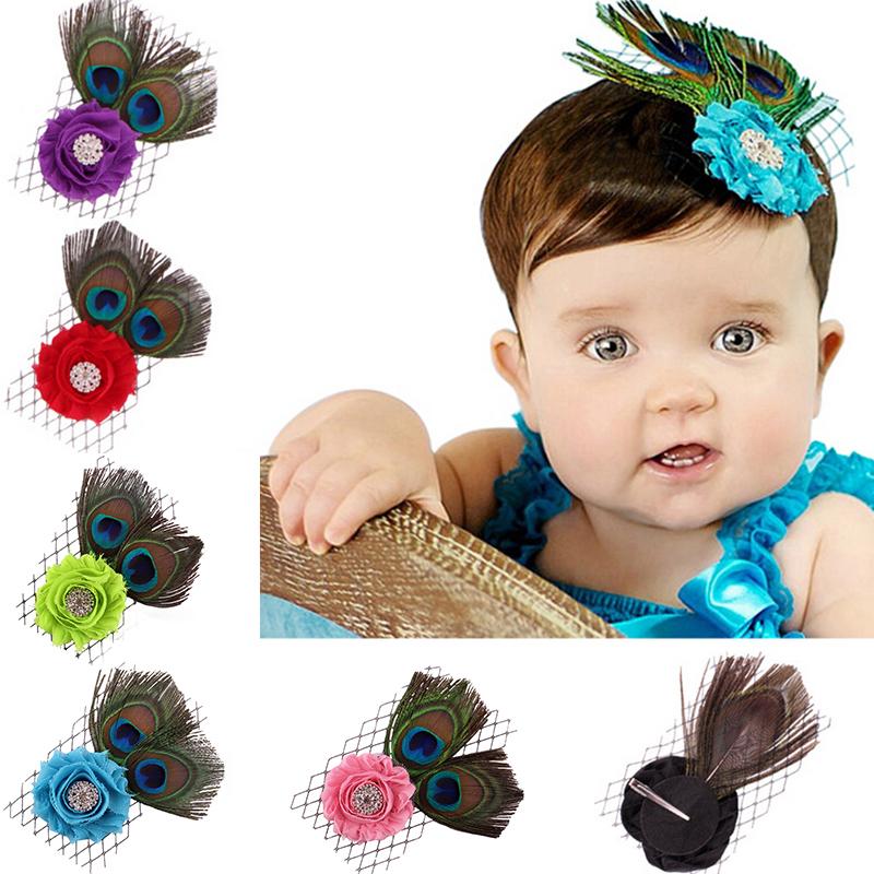 1PC Baby Girl Rhinestone Headband Peacock Feather Photography Props Headwear Hair Accessories(China (Mainland))