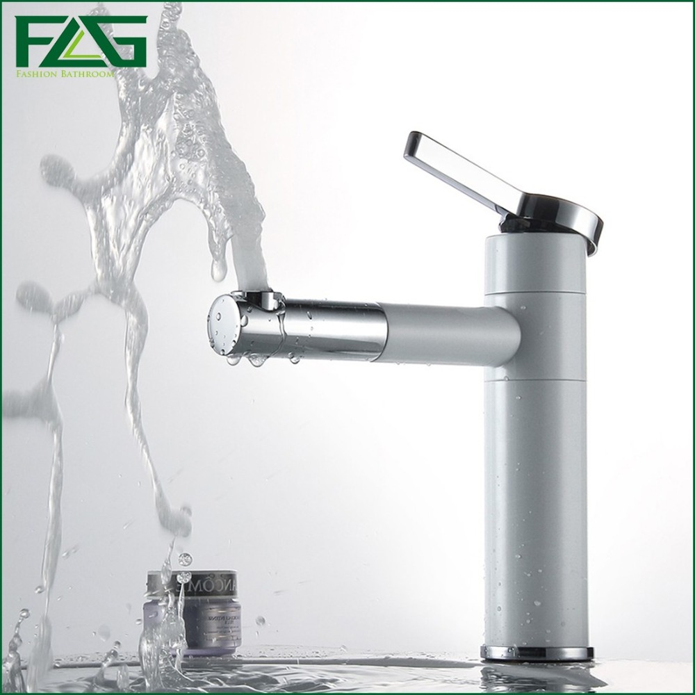 Luxury Basin Faucet White Painting 720 Degree Swivel Pia De Banheiro Deck Mounted Cold & Hot Basin Bathroom Water Mixer FLG701A(China (Mainland))