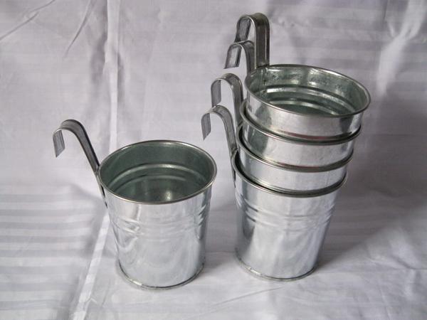 Tenture de zinc seau argent couleur metal usine pots de fleurs planter crochet mariage hanging - Pot de fleur en zinc ...