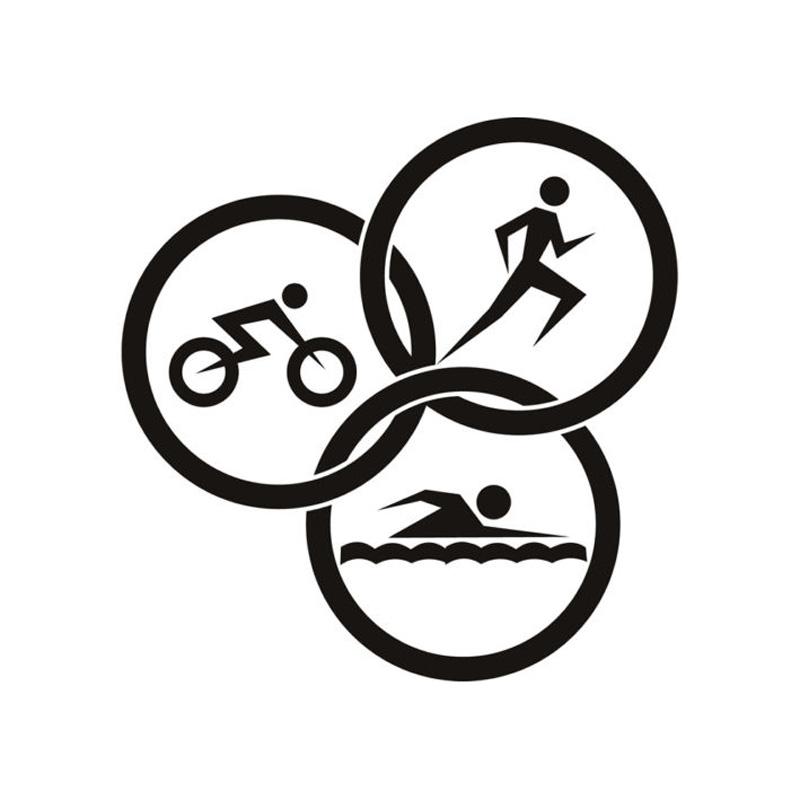 15*15CM About Triathlon Athletics Car Decals Waterproof Vinyl Reflective Car Stickers Black/Silver C7-0171(China (Mainland))