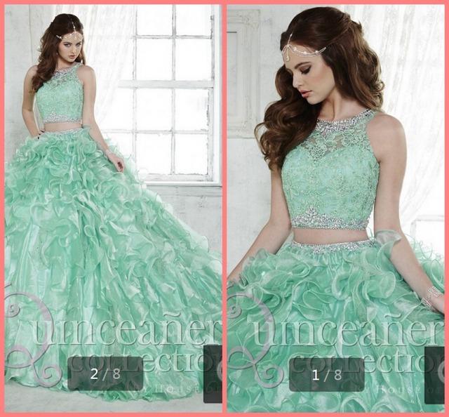 Платье женщины 2015 из двух частей Quinceanera платье бальное платье кристалл бисера ...