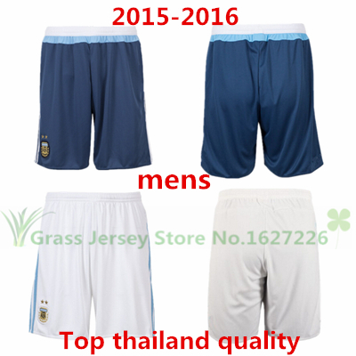 Top thailand quality 2015 2016 Argentina soccer shorts DI MARIA TEVEZ MESSI HIGUAIN Football 15 16 Free (Shipping Custom Number)(China (Mainland))