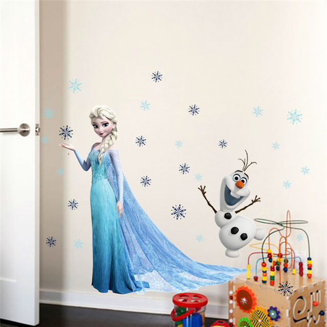 3D Animation Princess Queen Aisha Home Decor Wall Stickers Frozen PVC Wall Stickers Snow Girl Living Room Kids Room Decoration(China (Mainland))