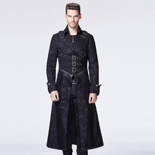 PUNK RAVE punk style breast cross long trench turn-down coat (China (Mainland))