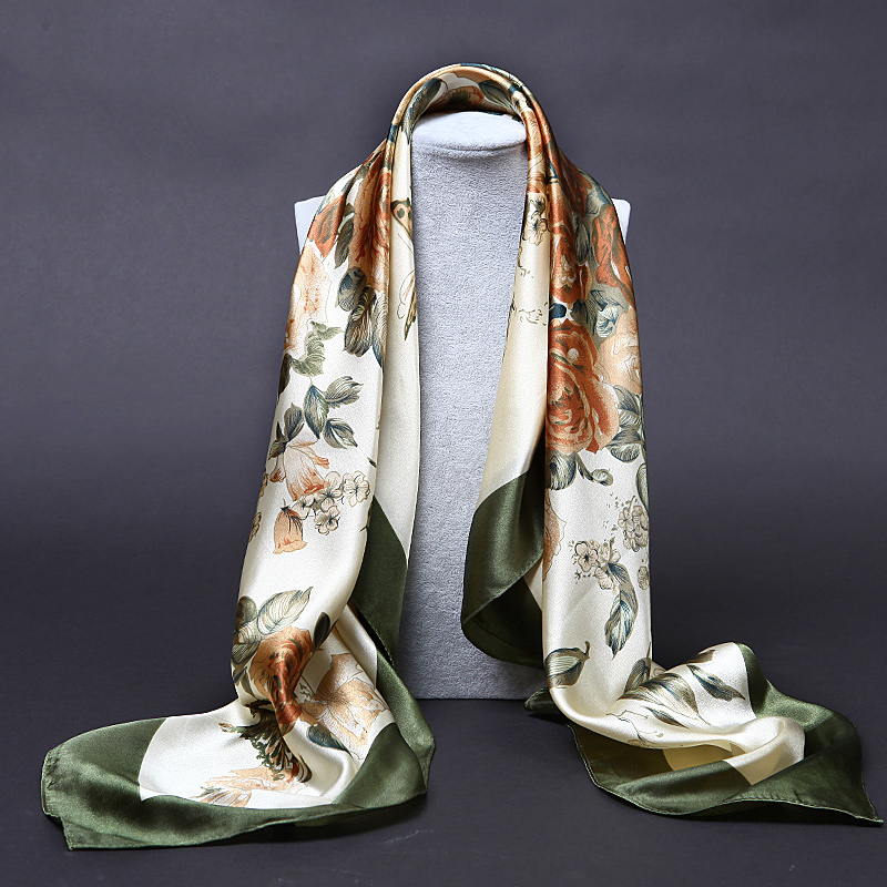 chinese style women scarf silk new oil painting satin scarves  high-grade brand designer  long silk scarf women 90*90-b137