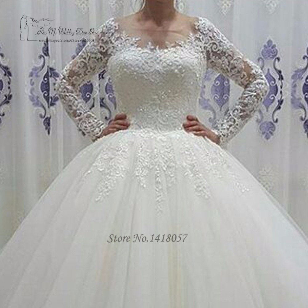 Vestido de Noiva Manga Comprida Puffy New Arrival Long Sleeve Wedding Gowns  Lace Ball Gown Wedding Dresses Sequin Bride Dress ec8cbe50b1b7