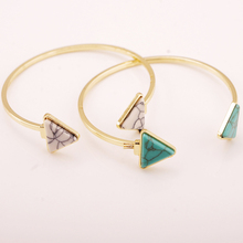 New Fashion Gold Plated Green White Turquoise Geometry Triangle OpenBracelets & Bangle For Women Fine Jewelry Men pulseras 8588(China (Mainland))