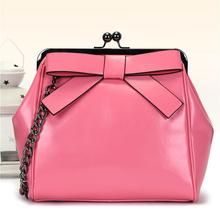 Designer Lolita Style 100% Genuine Leather Handbags high quality on sale pochette women solid bow chain trapeze shoulder bag 49
