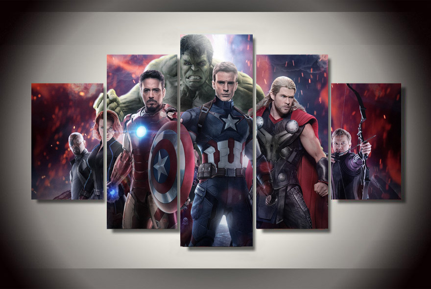 Unframed Modern Decorative Picture Avengers 2 Movie Painting Canvas Room Decoration Print Poster Picture Canvas Modular picture(China (Mainland))