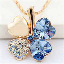 Four Leaf Clover Necklaces Pendants Crystal from Swarovski Elements 18K Gold Plated Vintage Fashion Jewelry For Women 900(China (Mainland))