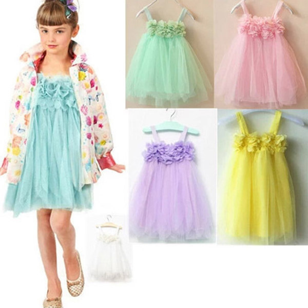 Toddlers Baby Kids Girls Chiffion Lace Sling Tulle Dresses Kids Dresses For Girls Puff Child Dress ACA FREE SHIPPING(China (Mainland))