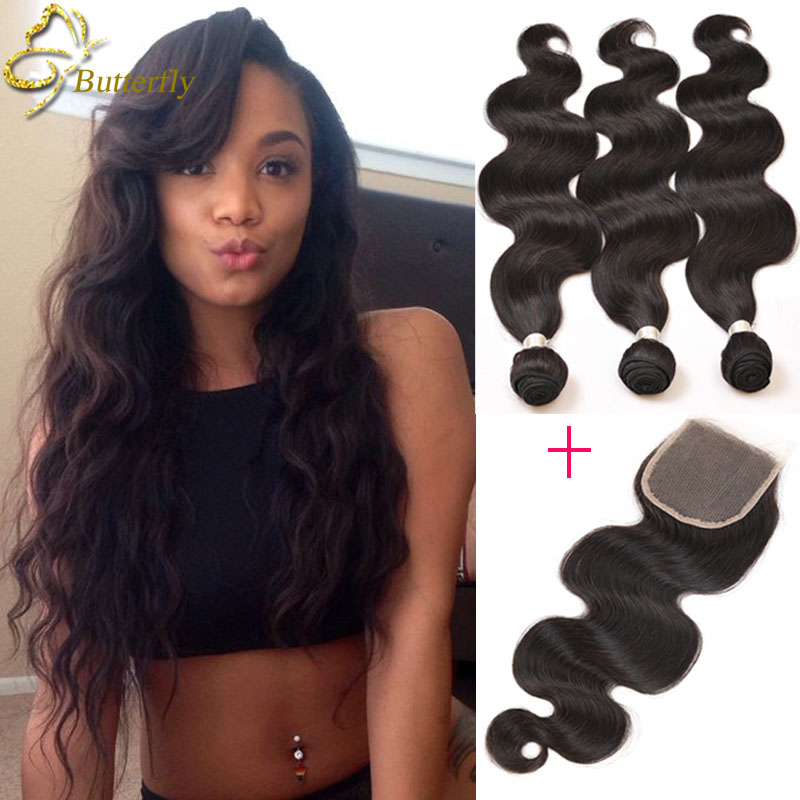 Brazilian Virgin Hair with Closure Body Wave Lace Closure with Bundles Queen Hair 3Bundles with Closure Brazilian Virgin Hair