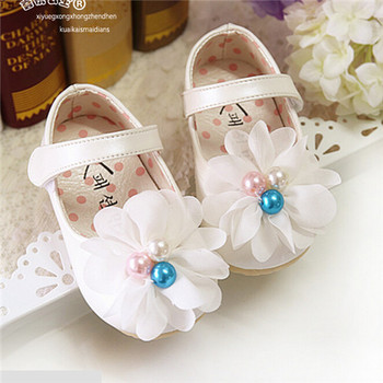 Children Shoes Sweet Baby Girl First Walkers New 2015 Cute Pearls Flowers Soft Baby Shoes Princess Shoes Girls Flats#2714