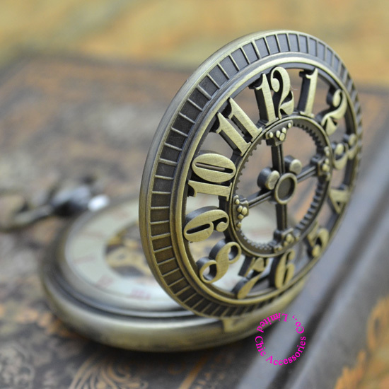 Coupon for wholesale buyer price good quality new bronze retro vintage classic arabic number mechanical pocket watch with chain(China (Mainland))