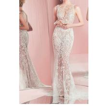 Paola Slim Free Shipping Sleeveless Sexy Sheer Wedding Dress Embroidered Gorgeous Arabic Bridal Dress 2016 MYEDRESSHOUSE(China (Mainland))