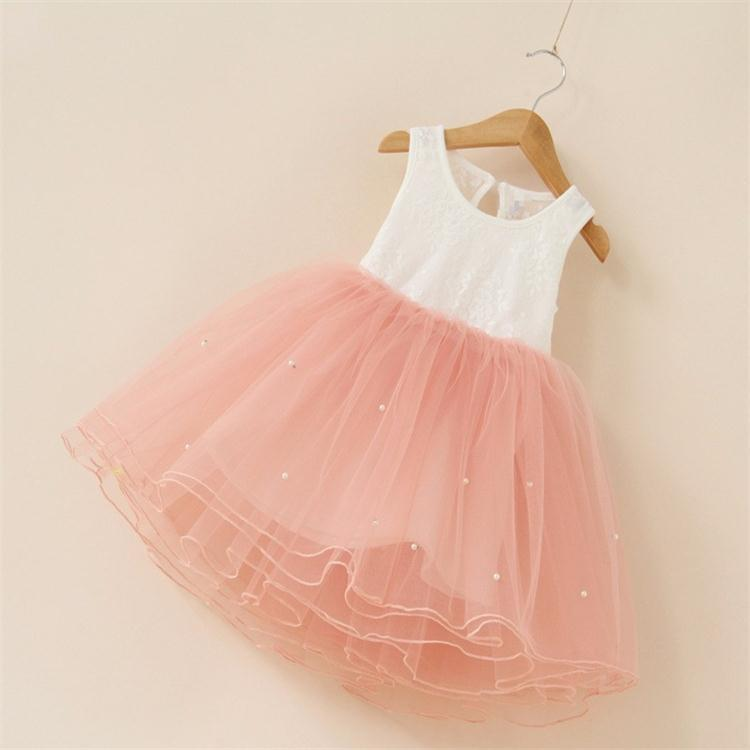 New 2017 flower girl party dress baby birthday tutu dresses for girls lace baby vest baptism dresses pearls kids wedding dress(China (Mainland))