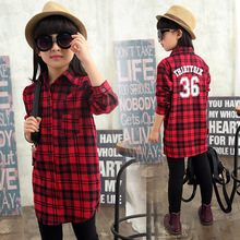 Autumn Winter Fashion Shirt Striped Plaid Blouse Girls Clothes Slim Casual Overshirt Children Clothing 4-15 Years Kids Clothes