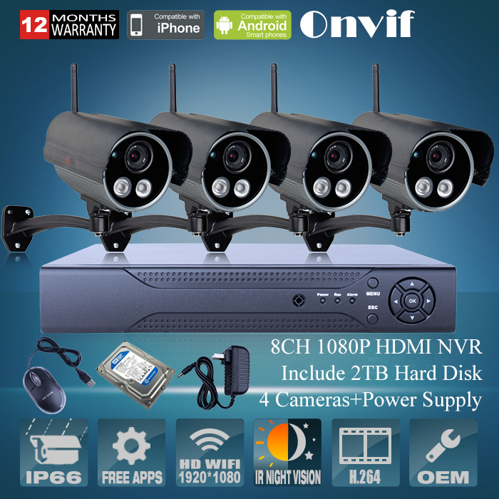 Free Shipping 8CH H264 NVR System 4pcs 1080P Full HD Outdoor Wireless WIFI Network IR IP Camera 2.0MP CCTV Camera System+2TB HDD<br><br>Aliexpress