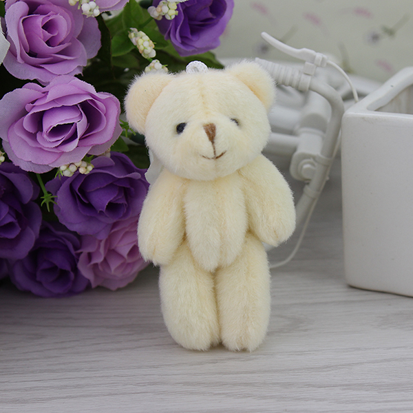H-8cm Mini teddy bear Stuffed Joint Bear plush toy cartoon bouquet doll (ursinho de pelucia)50pcs/lot(China (Mainland))