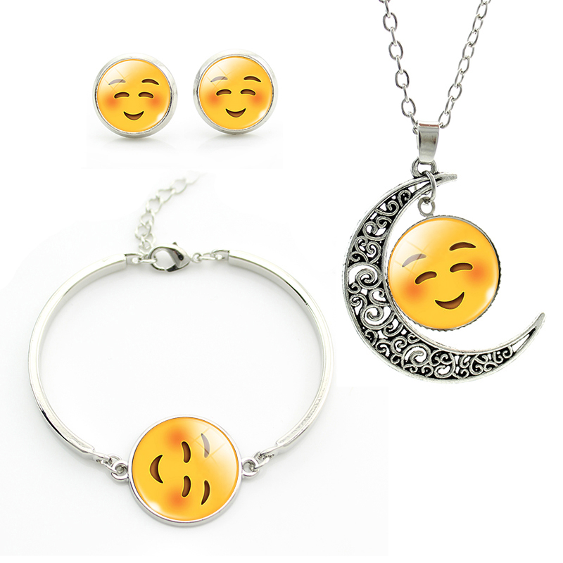 Lovely Shy Smile Face jewelry sets long Necklace stud Earrings Bracelets plated silver moon Emoticons jewelry sets gift JS067(China (Mainland))