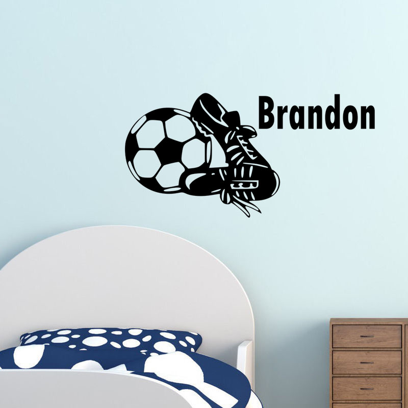 Customized Decal Football Boots Decal Vinyl Removable Art Football Custom Name Wall Sticker Mural Creative Design For Kids Room(China (Mainland))