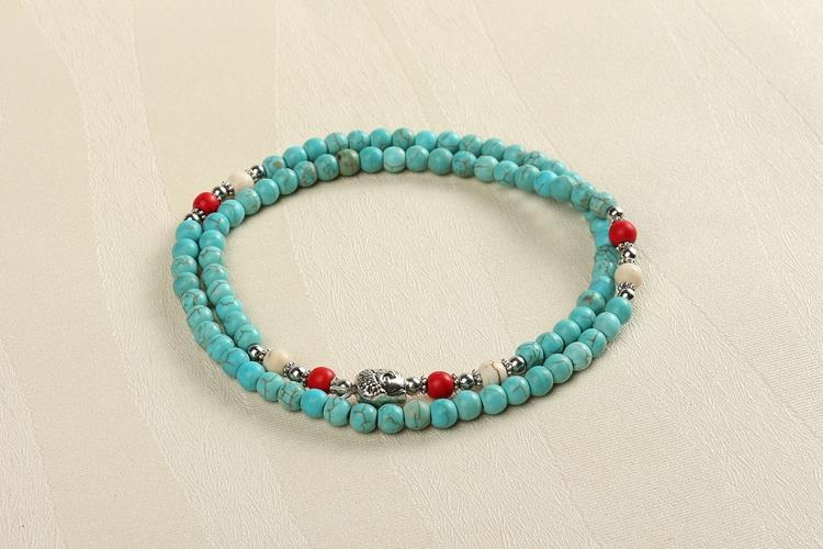 6 mm bracelet turquoise Multiturn white/green/red(China (Mainland))