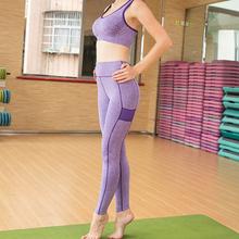 Новый профессиональный женщины-йога костюм бюстгальтеры и брюки комплект стрейч жилет эластичный пояс брюки леди открытый работает фитнес-спортивной