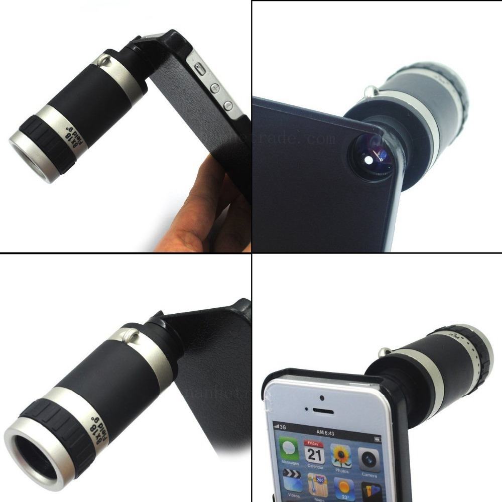 Optical 8X Zoom Mobile Cell Phone Telescope Camera Lens+Case For iPhone 5 5S 8X Zoom lens
