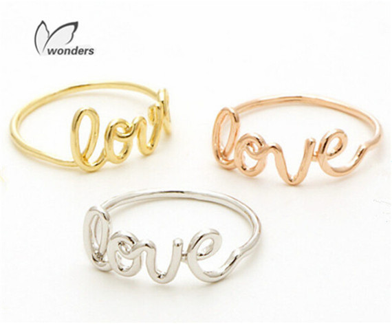 1 2016 Wedding & Engagement Script Love Rings Women Delicate Anillos Minimalist Jewelry Gold Plated Promise Ring - Show store