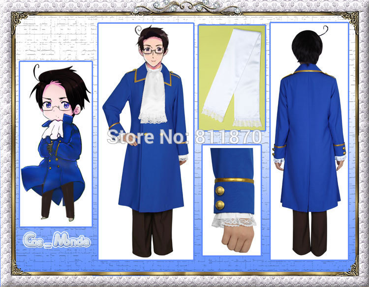 Axis Powers Hetalia APH Cosplay Austria Unisex Military Uniform Sailor Suits Evening Dress Costume(China (Mainland))