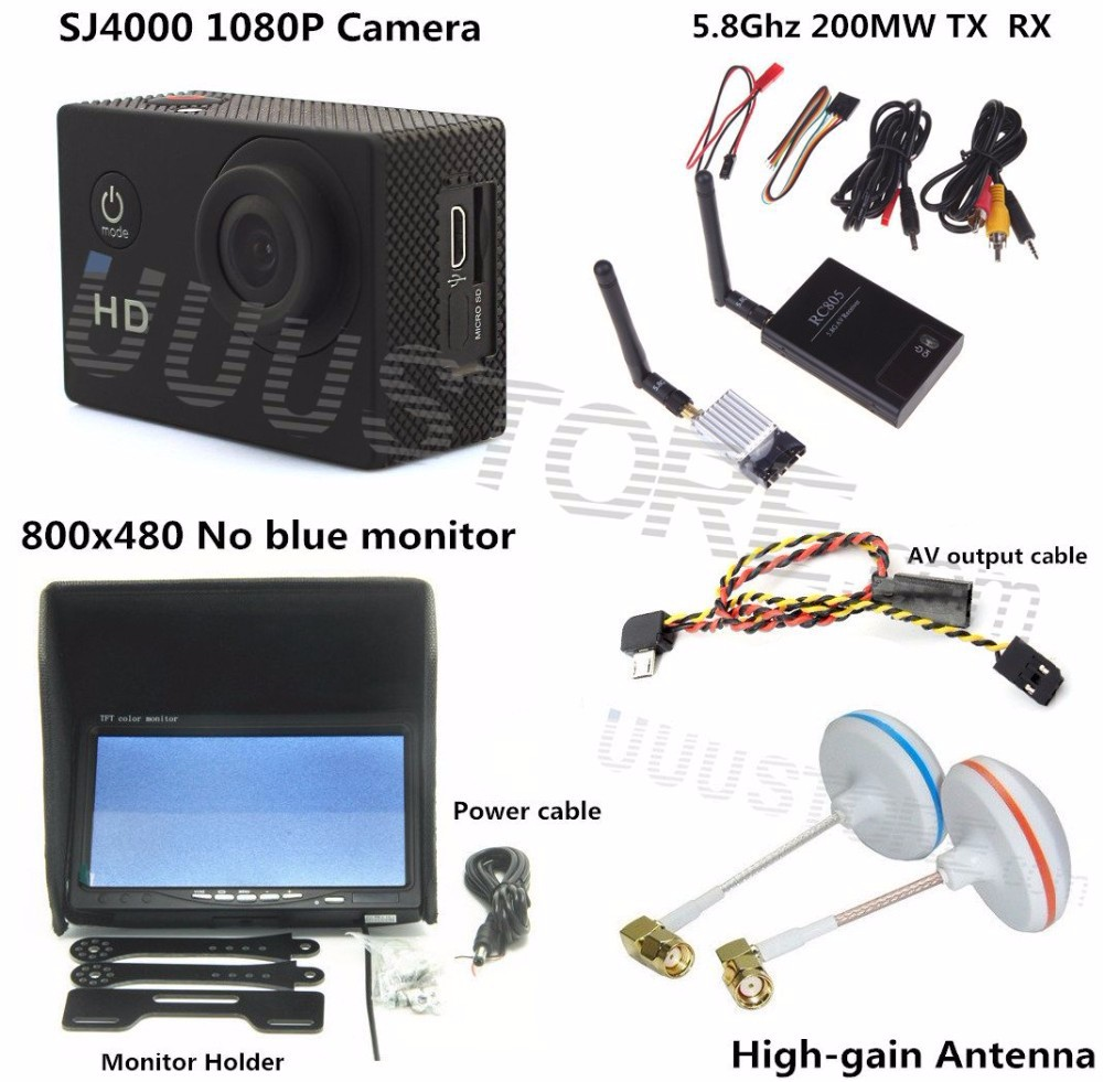 RC FPV Combo System 5.8Ghz 200mw transmitter receiver No blue monitor SJ4000 Camera for walkera CX20 DJI Phantom QAV250 F450 3KM 1