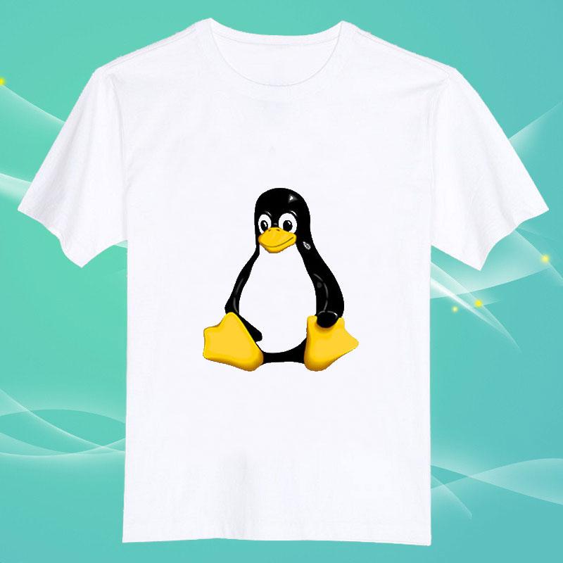 足ペンギン linux送料無料100% コットン o ネック半袖camisetas tシャツ 、 ユニ