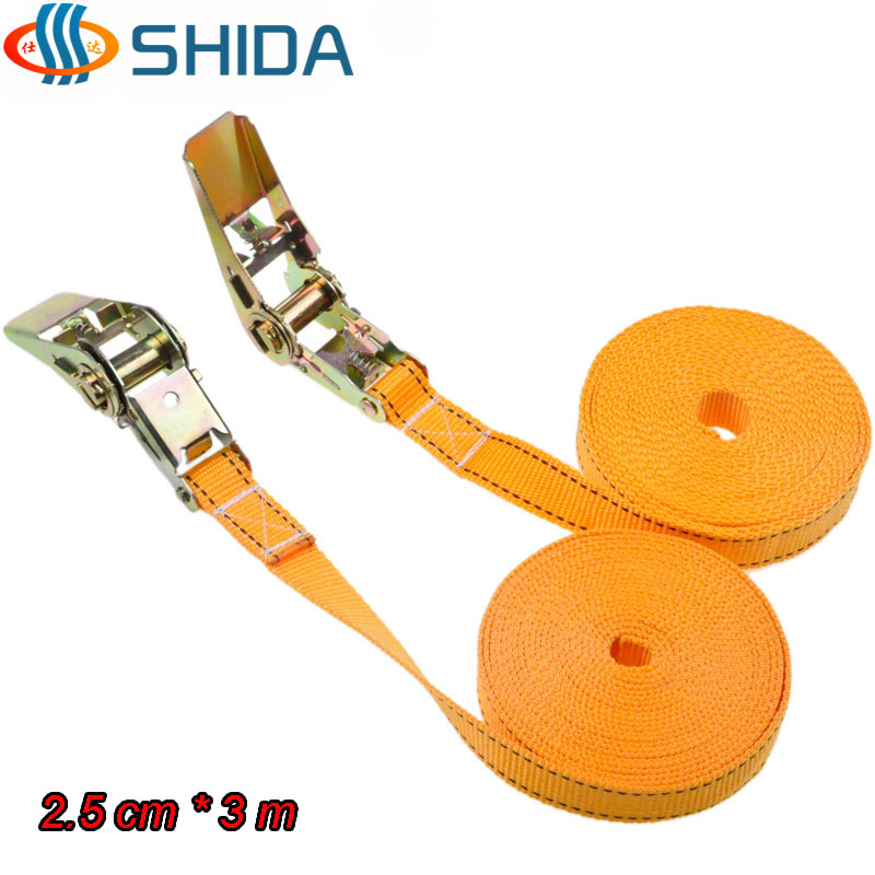 High Quality 1pcs 1 inch 2.5 cm * 3 Meters 900KG Metal Cargo Lashing Strap Ratchet Tie Down Cam Buckle Winch Polyester Strap(China (Mainland))