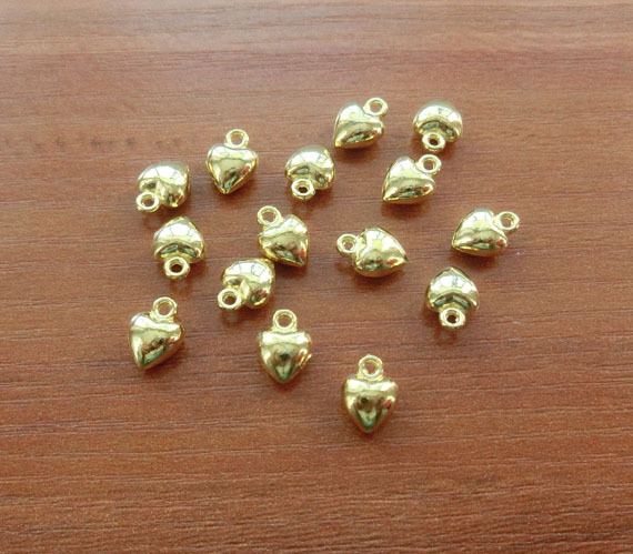 Gold Heart Charms, 3D, Puffy Heart Charm Tiny Valentine Charm Jewelry Finding Supplies 9*7mm TS289(China (Mainland))