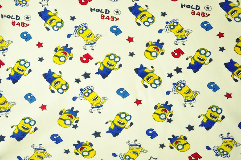 Minions print cotton spandex knit fabric poly spun velour for Knit fabric childrens prints