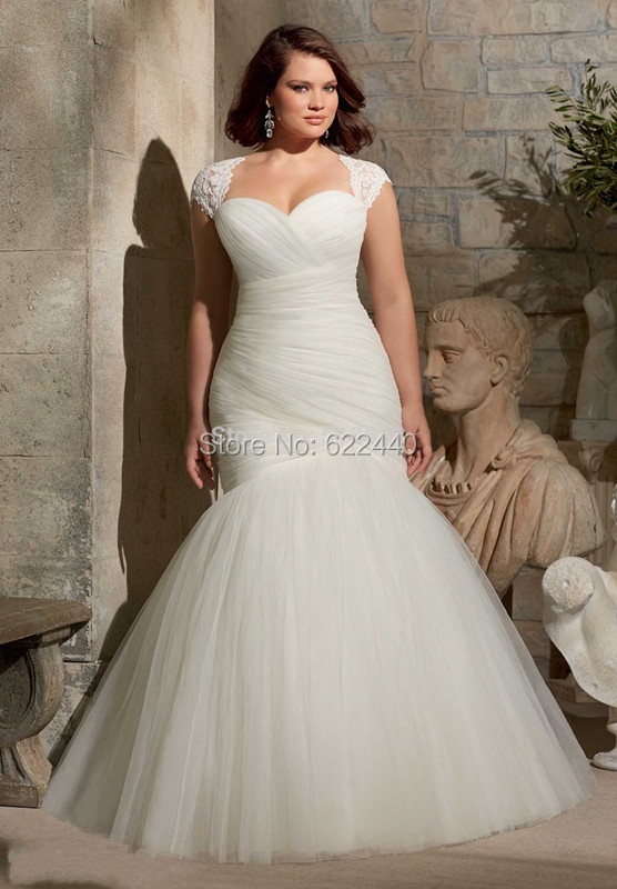 Romantic Sweetheart White Tulle Mermaid Wedding Dresses Plus Size Wedding Dre